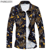 Tree Branches Printed Men Shirt 2018 New Fashion Mens Shirts Slim Fit Long Sleeve Floral Plus Size Brand Shirt Chemise Homme 6XL