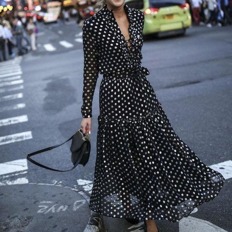 Женское винтажное платье-макси в горошек, с V-образным вырезом и завышенной талией