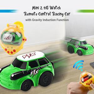 Image 4 - Mini reloj de detección de gravedad coche de carreras de Control remoto 2,4G RC recargable coches de dibujos animados de juguete regalos para niños
