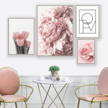 Pink Peony Tulips Rose Flower Wall Art Canvas Painting Nordic Minimalism Posters And Prints Pictures For Living Room Decor