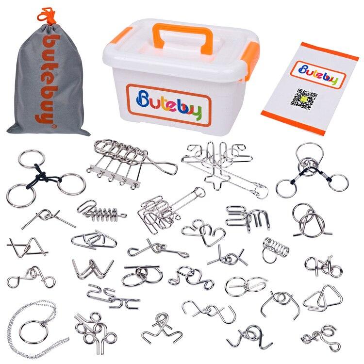 30 pièces/ensemble IQ métal fil Puzzle magique esprit cerveau Teaser Puzzles jeu jouet pour adultes enfants