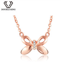 DOUBLE-R New Arrival Rose 18 k Gold Elegant Butterfly Necklaces Real Natural Diamond Pendants Gold Jewelry Gift CANL00287KA-3