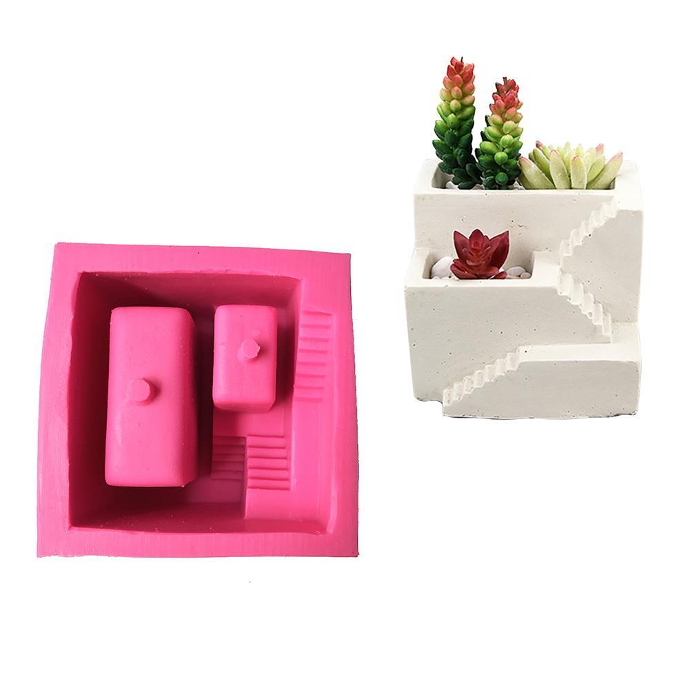 สไตล์นอร์ดิกบ้านบันไดรูปปูนซิเมนต์แม่พิมพ์ซิลิโคนดอกไม้แจกันดอกไม้ Succulent หม้อ-ใน กระถางดอกไม้และเครื่องหว่านเมล็ด จาก บ้านและสวน บน   1
