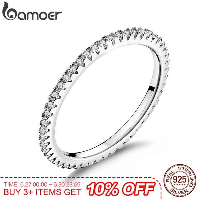 cda234eb8 BAMOER Classic 925 Sterling Silver High Quality Circle Clear CZ Geometric  Stackable Rings for Women Wedding Jewelry Gift SCR066