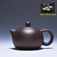 220 ml Preto Yixing Roxo Barro Tea Pot Xishi Genuíno Todas Feitas À Mão Bônus 5 Peça Xícara de Chá Conjunto bule Kung Fu Bule Frete Grátis|set piece|set tea|set tea cup -