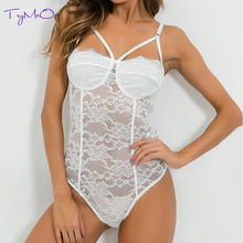 TryMeOn Sexy Lace Bodysuit Women Mesh Jumpsuits Romper Floral Embroidery Lace Backless Underwear Body Suits