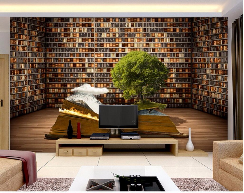 3d Room Wallpaper Custom Mural Creative Book Shelf Decoration Painting Photo Wall Murals For