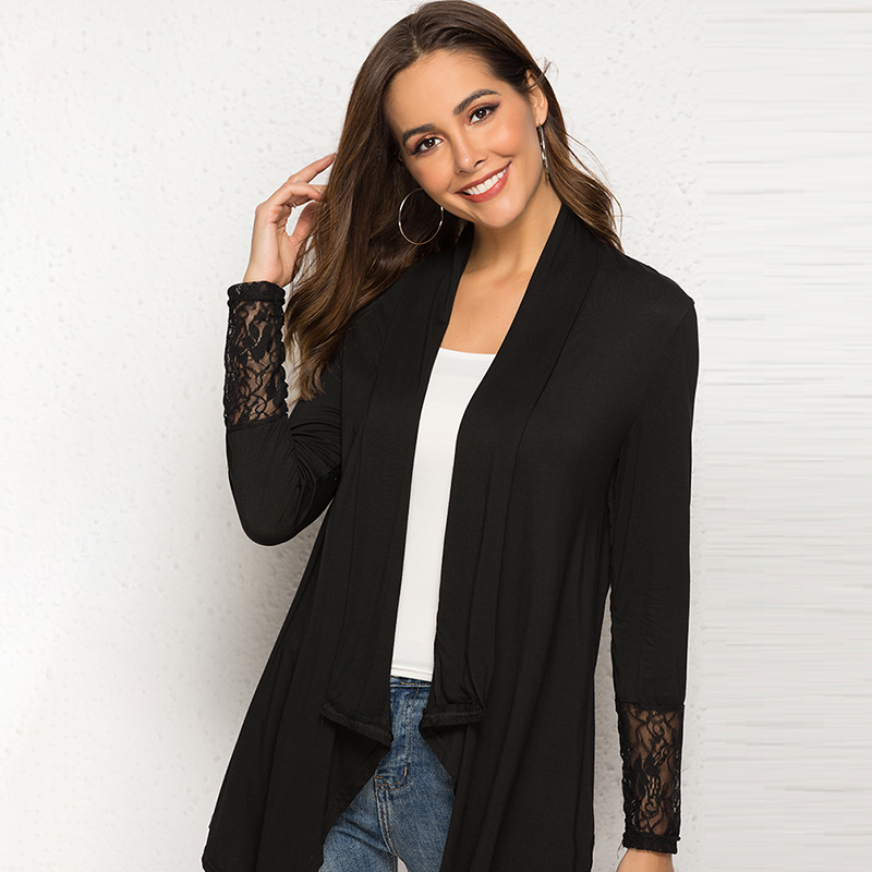 Women Thin Cardigan Long Sleeve Loose Lace Patchwork Black White Top Plus Size Asymmetric Hem Thin Outerwear