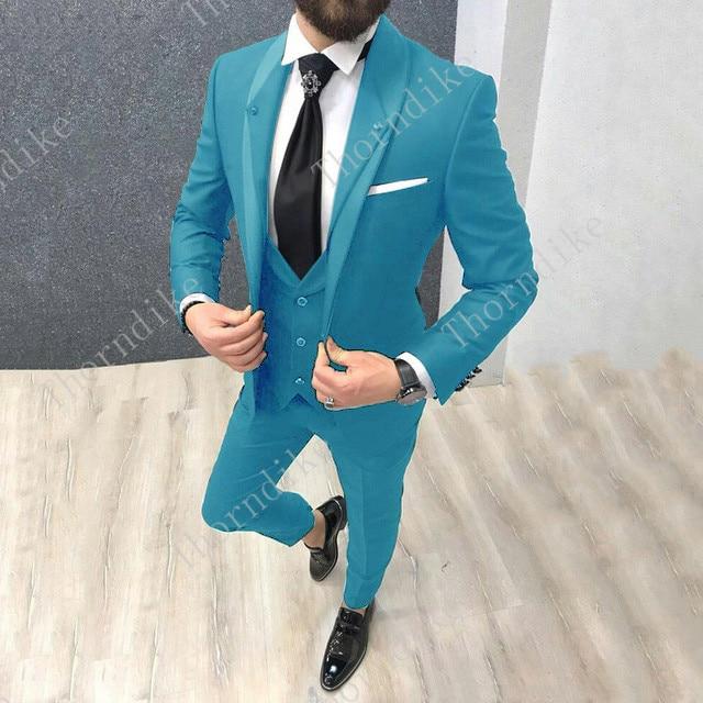 Thorndike أحدث شال طية صدر السترة رجل الدعاوى مع السراويل 3 أجزاء بدل زفاف للرجال مخصص طباعة سهرة الرجال بدلة 2018 ternos-في بدلة من ملابس الرجال على  مجموعة 1