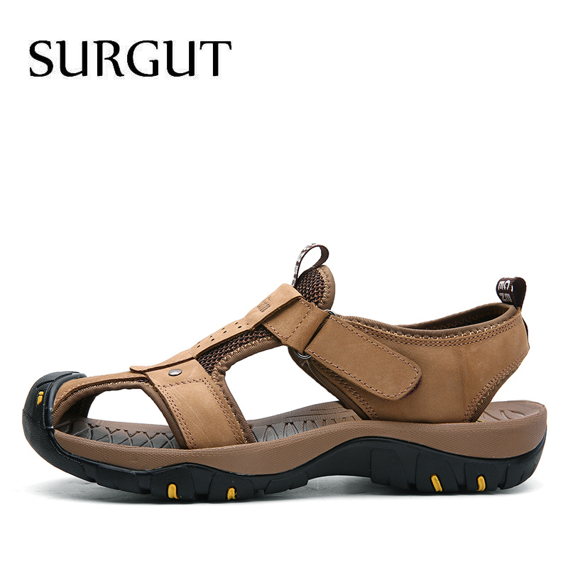 Image 3 - SURGUT Summer New Sandals Men Leather Classic Roman Sandals 2019 Slipper Outdoor Sneaker Beach Men Water Trekking Casual Sandals-in Men's Sandals from Shoes