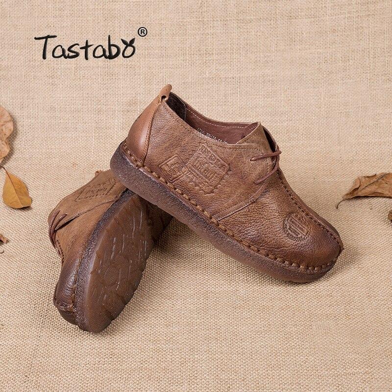 Tastabo Véritable En Cuir Plat Chaussures Femmes Enceintes Chaussures Mère Conduite Chaussures Femmes Mocassins Femmes Appartements à La Main À Coudre Chaussures - 5