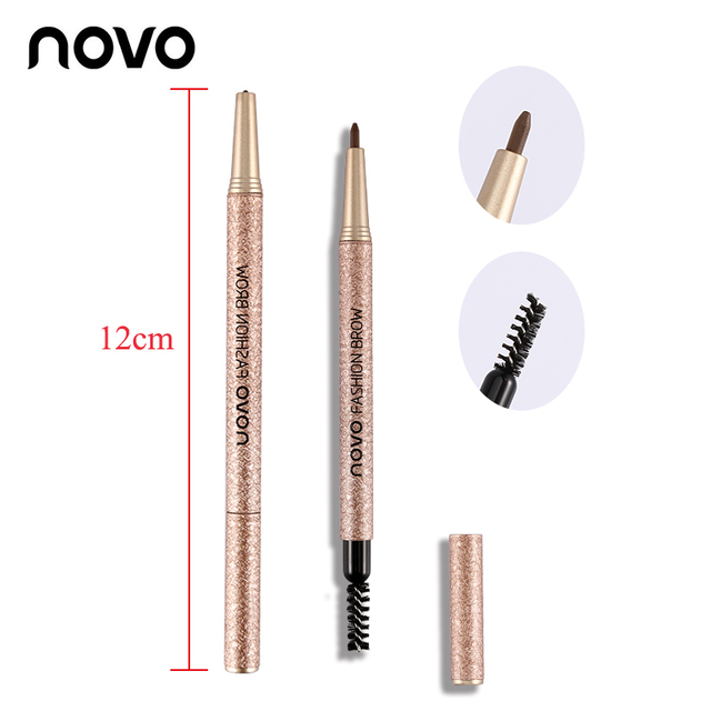 1 Set=3pcs NOVO 4 Colors New Eyebrow Pencil Makeup Set With 3pcs pencil+3pcs Eye Brows Template Waterproof Long Lasting Make Up 5
