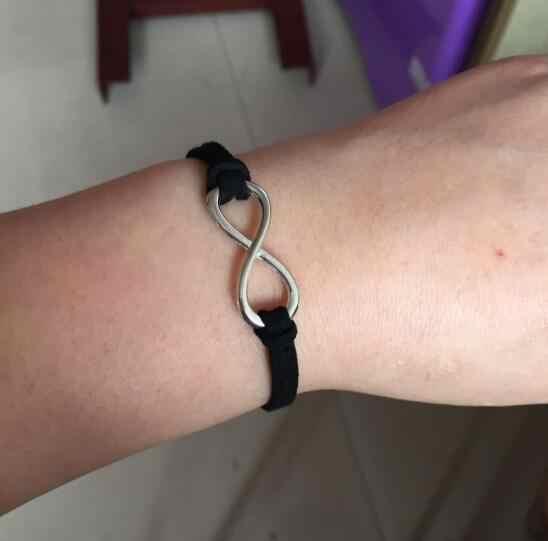 Nuevo listado de moda aleación corazón geométrico redondo triángulo 8 palabra Cruz ojos azules negro de felpa cuerda pulsera unisex 1 Uds