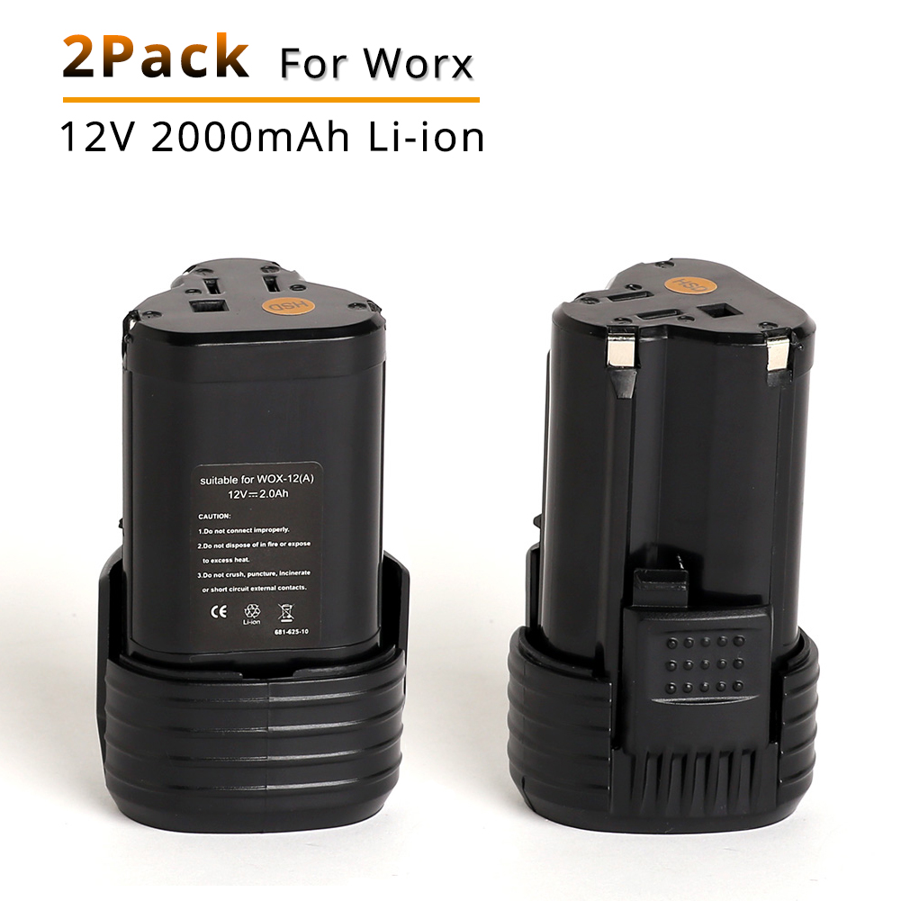 2PCS 12V 2.0Ah Li-ion Batteries Replacement for Rockwell for Worx WA3503 Power Tools WU151 WU127 WU128 WX521 WU679 WX6777 WX3827