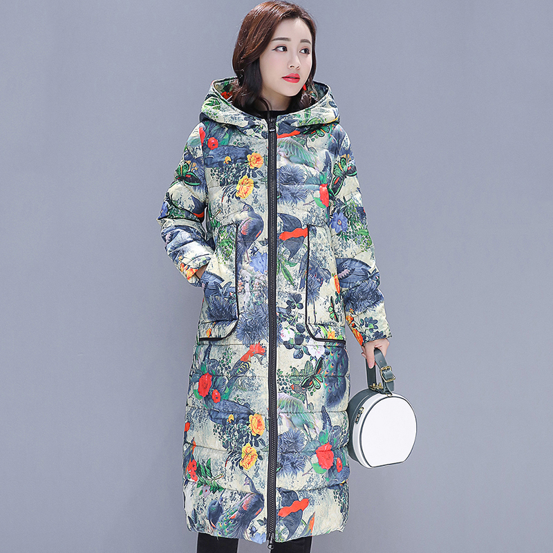 2019 Vintage Women Winter Jacket Hooded Cotton Padded Printing Female Long Coat Outwear   Parka   Abrigos Mujer Invierno