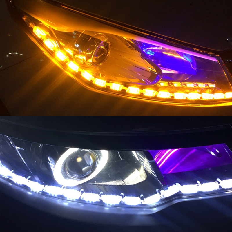2pcs <font><b>LED</b></font> Headlight <font><b>DRL</b></font> Amber <font><b>Turn</b></font> <font><b>Signal</b></font> Light For VW POLO Golf 4 5 6 7 GTI <font><b>Passat</b></font> b5 <font><b>B6</b></font> JETTA MK4 MK5 MK6 CC EOS Touareg Beetle image