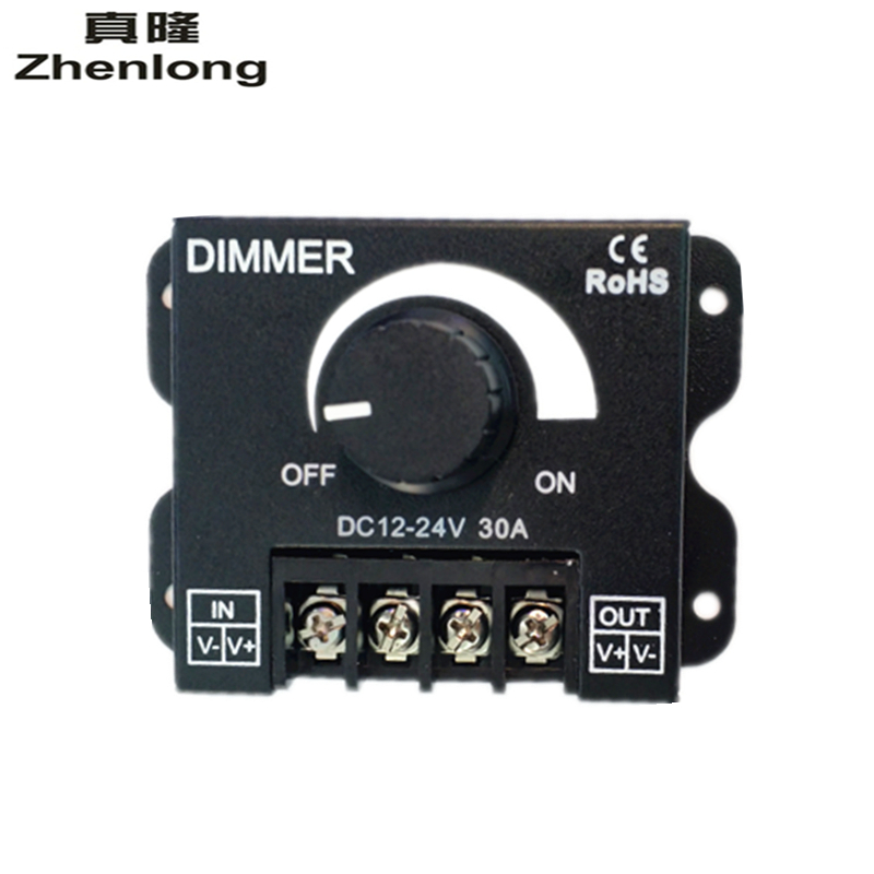 Zhenlong DC12V-24V 30A LED Light Dimmer Switch Modulator Adjustable Bright Controller