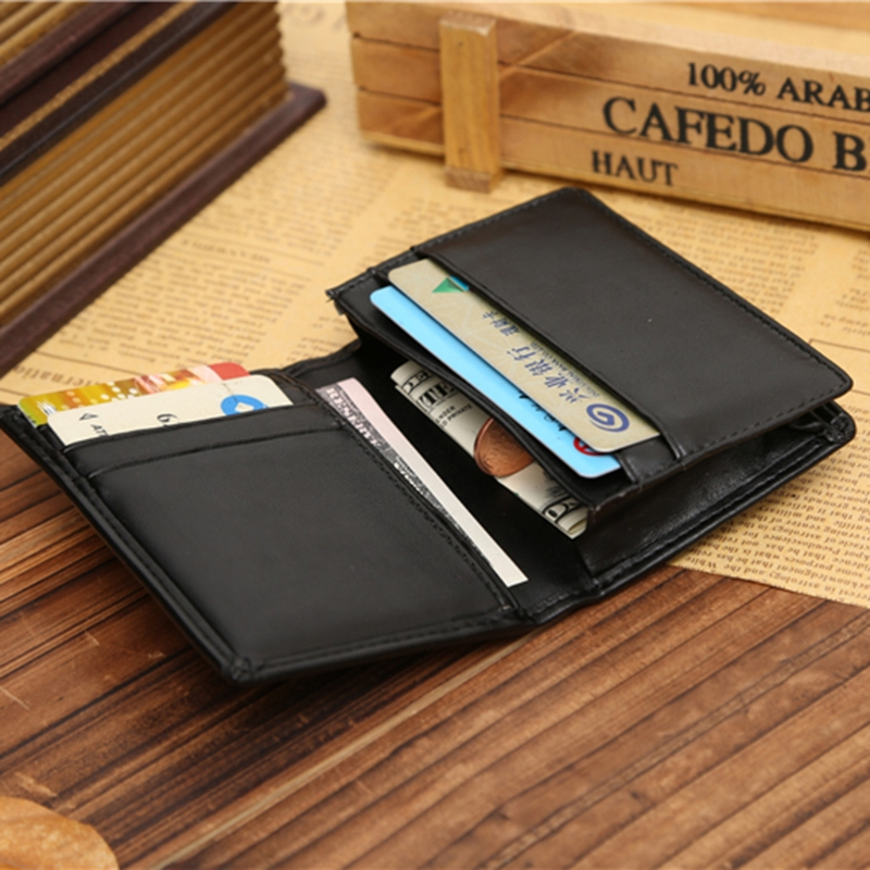 THINKTHENDO RFID Wallet Men Small Bifold Faux Leather Pocket Money ID Credit Card Holder