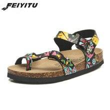 FeiYiTu New Men Summer Fashion Cork Sandals Beach Gladiator Buckle Strap Shoes Flat Casual Man sandals Plus 35-45