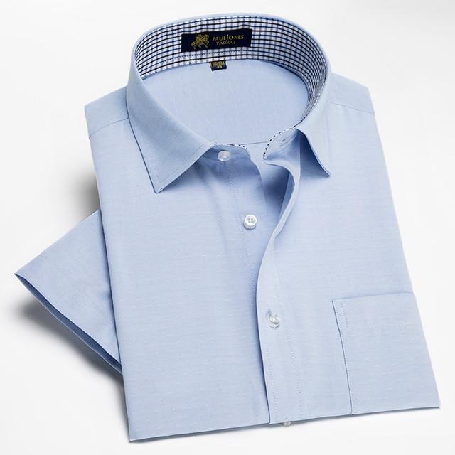 Новое Прибытие 2017 Мужчины Рубашки С Коротким Рукавом Сплошной Цвет мужская Рубашка Лето Мужской Рубашки Платья Белый Синий camisa masculina