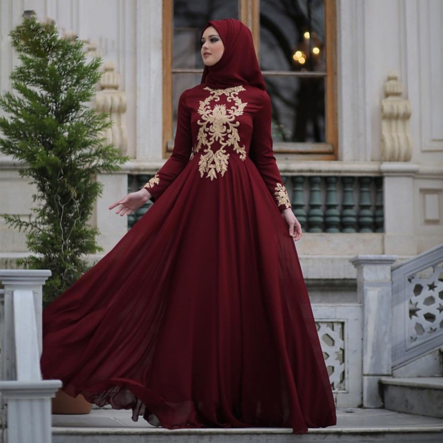 2017 New Listing Lace Appliques Burgundy Prom Dress Long