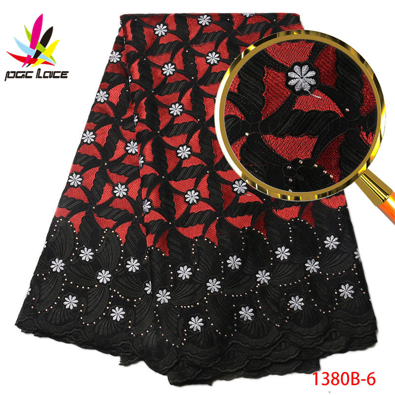 Latest African Swiss Voile Lace 2018 High Quality Colorful Dry Lace Embroidered Cotton Voile Lace For