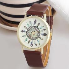 Women's Fashion Watch Womens Vintage Feather Dial Leather Band Quartz Analog Unique Wrist Watches drop shipping jun21