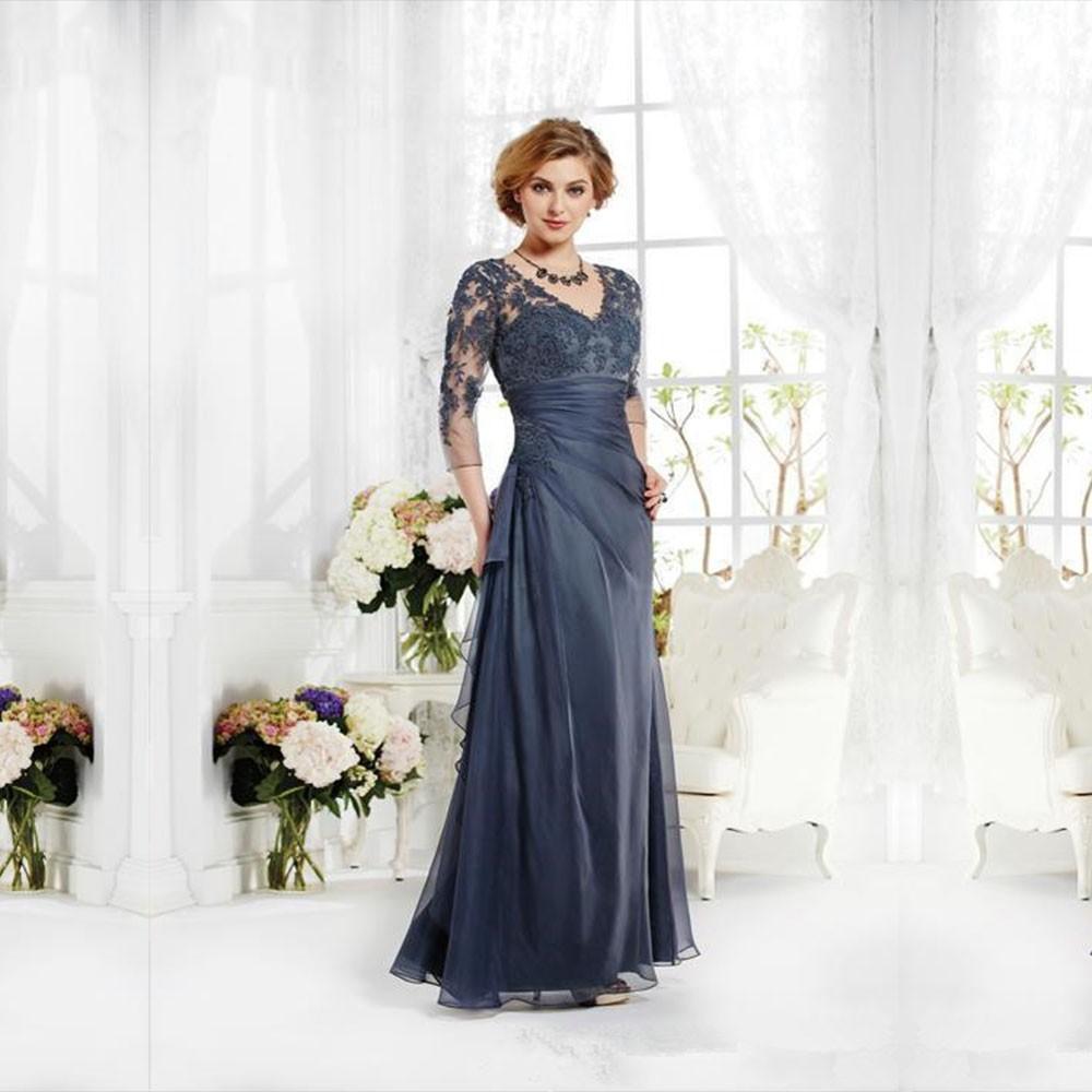 Elegant-Silver-Gray-V-neck-Three-Quarter-Sleeve-Appliques-Chiffon-See-Through-Back-Long-Sheath-Mother
