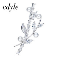 Cdyle Crystals From Swarovski Brooches Women Retro Femal Palace Branches Design Jewelry Elegant Luxury Classic White