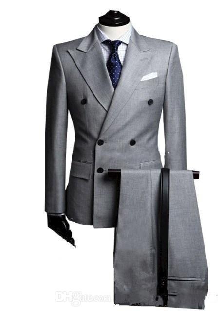 라이트 그레이 파파 옷깃 더블 브레스트 양복 남자 정장 custume hoome 패션 슬림 피트 terno masculinolastest designjacketpanttie-에서정장부터 남성 의류 의  그룹 1