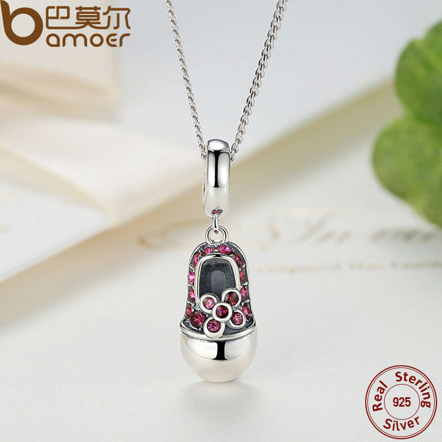 Sterling Silver Red Crystal Shoes Necklace