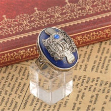 Newest Arrivals faroot 2018 Holiday DIY Decorations 925 Sterling Silver The Vampire Diaries Damon Salvatore Lapis Lazuil Ring(China)