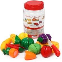 DIY притворяться, играть в детские Кухня Пластик Еда игрушка набор Пособия по кулинарии резки фруктов детские развивающие игрушки для детей девочек
