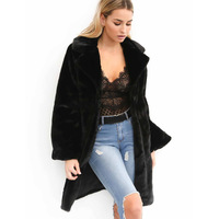 Casual furry faux fur coats women Fake fur coat female coat 2018 winter clothing black fur warm overcoat long coat