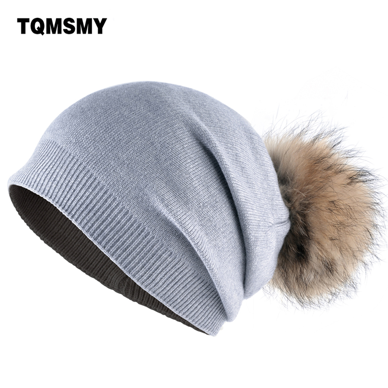 High quality winter beanies fur hats for women knitted wool hat 100%real Raccoon fur ball Solid color cap for casual women's hat 2017 classic russian women super good quality wool beanies hats with real fur ball knit caps solid skullies casual cap