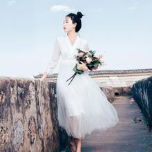 Ubei French style big swing long gauze super fairy dress white lace sleeve holiday beach women