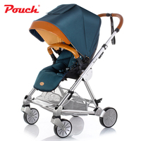 Pouch Luxury Aluminum Baby Stroller High Landscape Shock Absorber Folding Can Sit Lie Baby Bb Car Buggy Baby Carriage