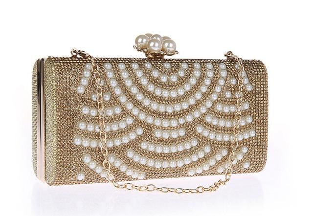 Luxury Evening Bags Crystal Pearl Clutch Party Bags Women Pochette Wedding Bag Soiree Purse Crystal Bead Bag SMYCWL-A0014