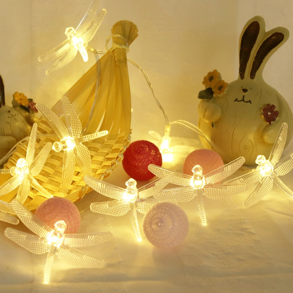 Christmas Light Dragonfly LED String Fairy Lights 10 LEDs For Xmas Party Decorations Garland USB Or Battery Powered IQ