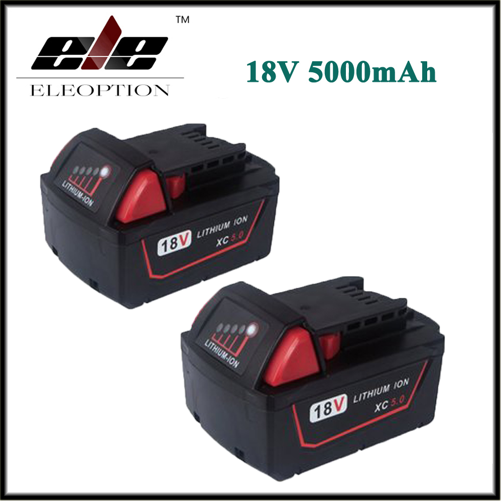 2x Eleoption 5000mAh 18V Li-Ion Replacement Battery for Milwaukee M18 XC 48-11-1815 M18B2 M18B4 M18BX M18BX eleoption 2pcs 18v 3000mah li ion power tools battery for hitachi drill bcl1815 bcl1830 ebm1830 327730