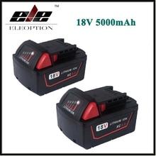 2x Eleoption 5000 mAh 18 V Li-Ion Batterie De Remplacement pour Milwaukee M18 XC 48-11-1815 M18B2 M18B4 M18BX M18BX