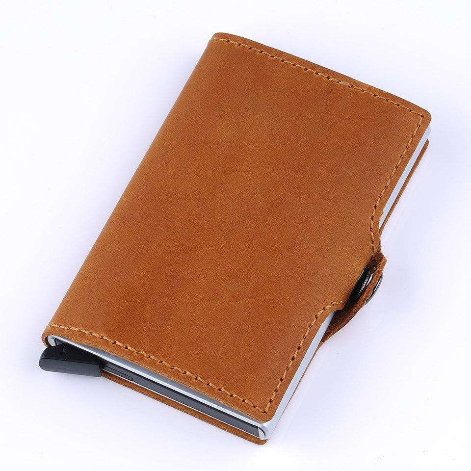 Antivol haute qualité hommes support de carte Rfid porte-carte de crédit en Aluminium avec Rfid bloquant Mini portefeuille en cuir véritable - 2
