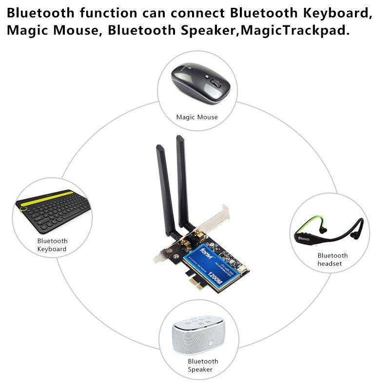 Escritorio doble banda 1200Mbps Bluetooth 4,0 PCI-E adaptador WiFi inalámbrico 802.11ac Broadcom Wifi tarjeta de red inalámbrica (WLAN) para MAC Hackintosh Windows - 6