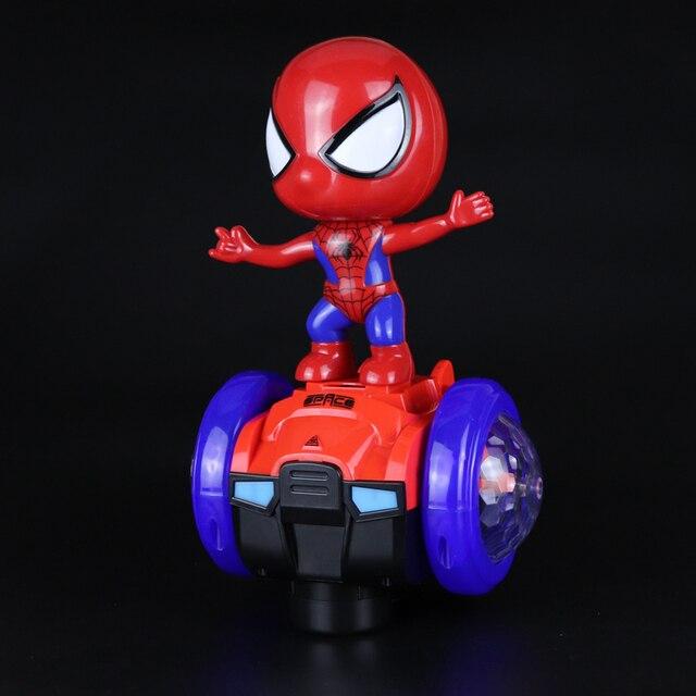 360 graus de Giro colorido luzes LED Spiderman Universal Car robot Música Carro de Brinquedo Elétrico presente da Criança Brinquedos Infantis