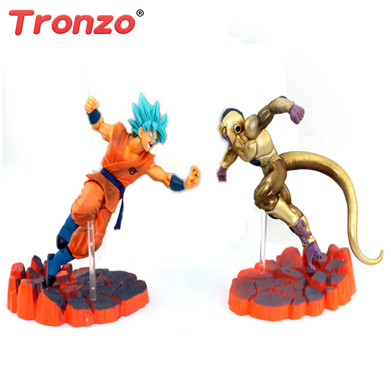 Tronzo 14cm Dragon Ball Z Super Saiyan Son Goku Frieza Figurine Action Figure Collectible Brinquedos Model Doll Dropshipping