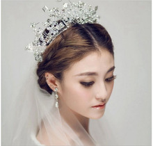 Fashion Luxury Handmade Beading Crystal Hair Crown Tiaras Queen Princess Large  Free Wedding Accessories