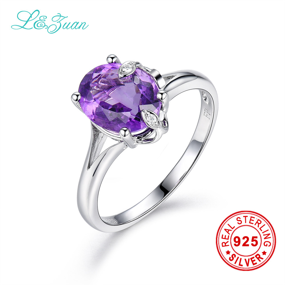 l&zuan Sterling Silver jewelry ring Natural 2.48ct Amethyst Purple Stone Prong Setting Ring Jewelry ring for Women