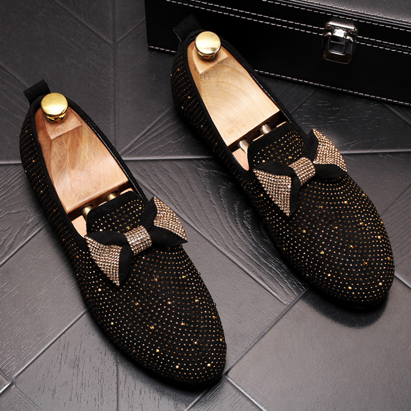 new design men's luxury fashion rhinestone cow leather shoes tie knot slip-on lazy shoe nightclub banquet dresses loafers sapato 2