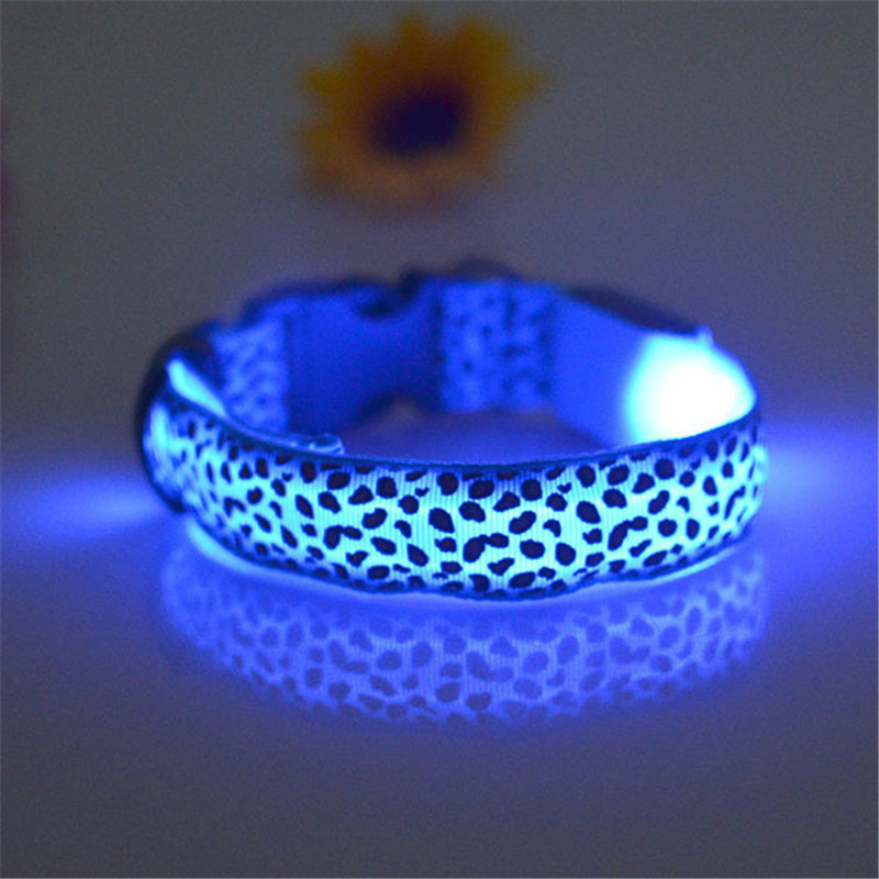 Adjustable LED Light Glow Pet Collar Leopard Nylon Pet Dog Cat Night Safety Luminous Flashing Necklace Glowing Neck Belt XWBE. 11