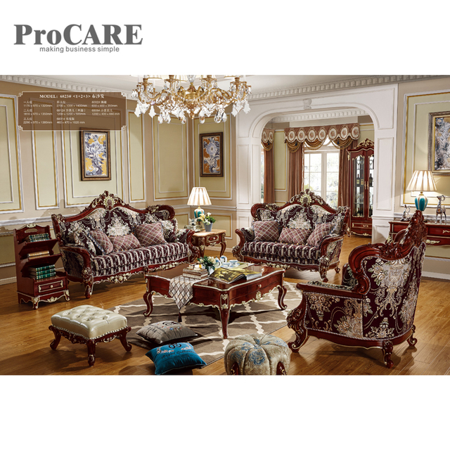 Luxury French Style Golden Living Room Sofa Set Classic Fabric Royal